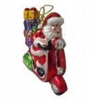 Gisela Graham Glass Santa on A Scooter Collectable