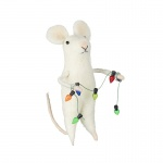 Heaven Sends Wool Mouse with Christmas Light Garland Decoration