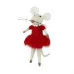 Heaven Sends Wool Mouse in Dress Christmas Decoration