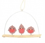 Shoeless Joe Christmas Decoration - Robins on Driftwood