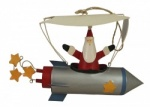 Shoeless Joe Christmas Decoration - Santa in a Rocket