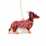 Sass and Belle Glass Dachshund Christmas Tree Decoration