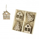 Heaven Sends Wood & Glitter House and Tree Boxed Decorations
