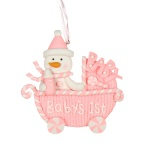 Widdop Gifts Baby's 1st Christmas Pink Pram Tree Ornament