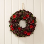 Widdop Gifts Red Pinecone & Rose Christmas Wreath