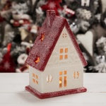 Widdop Gifts White & Red House Tealight Holder