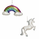 Widdop Gifts Set of 2 Unicorn & Rainbow Glass Christmas Baubles