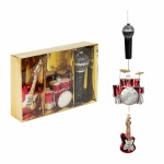 Widdop Gifts Set of 3 Music Themed Glass Christmas Baubles