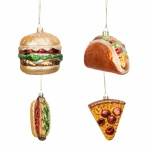 Widdop Gifts Set of 4 Takeaway Food Christmas Baubles