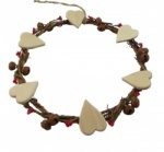 Gisela Graham Twig Wreath with Hearts Decoration