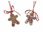Gisela Graham Gingerbread Boy and Girl Christmas Tree Decorations