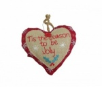 Gisela Graham Gingham Fabric Christmas Heart Decoration