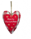 Gisela Graham Tartan Fabric Christmas Heart Decoration