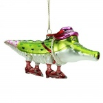 Gisela Graham Glass Mrs Alligator Christmas Tree Decoration