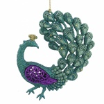 Pretty Glittery Peacock Christmas Tree Decoration
