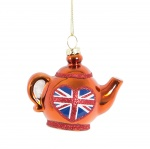 Sass And Belle British Teapot Hanging Christmas Decoration