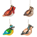 Sass and Belle 4 Glass Bird Christmas Tree Decorations
