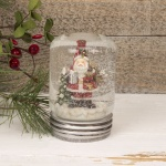 Father Christmas Lidded Jar Snowglobe Decoration