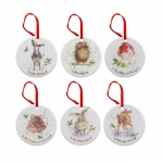 Wrendale Designs Set of 6 Assorted Christmas Tree Decorations