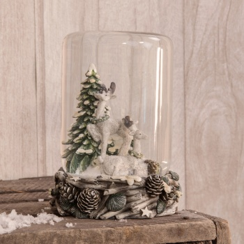 Woodland Christmas Dome Decoration With Reindeer Scene